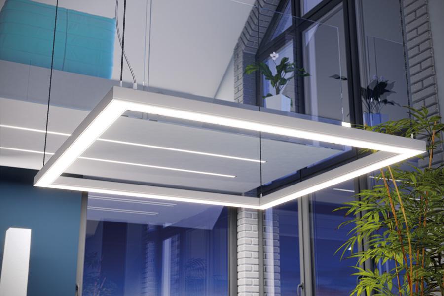 Fyrkantig armatur med LED-lister