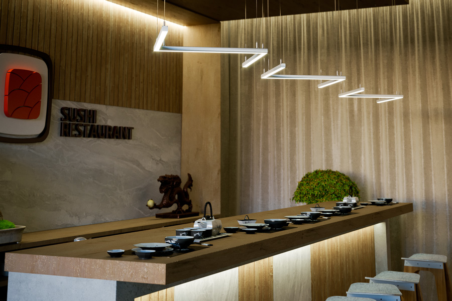 Designlampa skapad med LED-lister