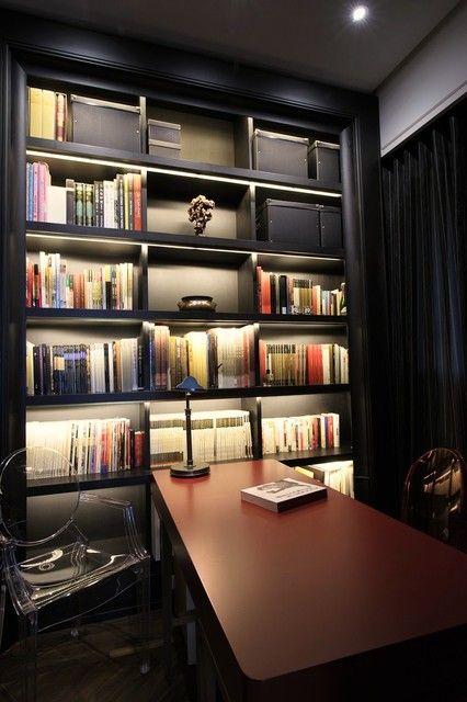 ljus för bokhylla