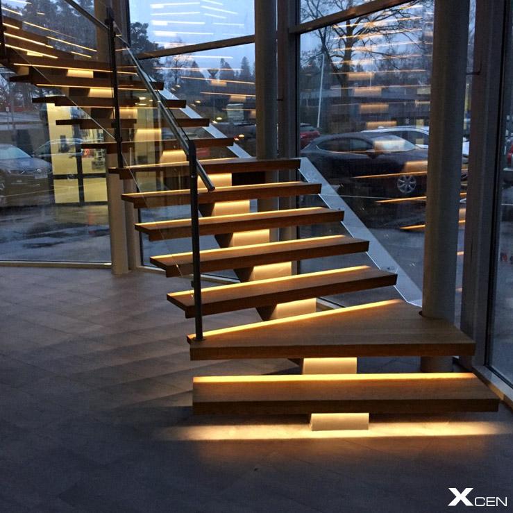 Belysning i trappa med LED