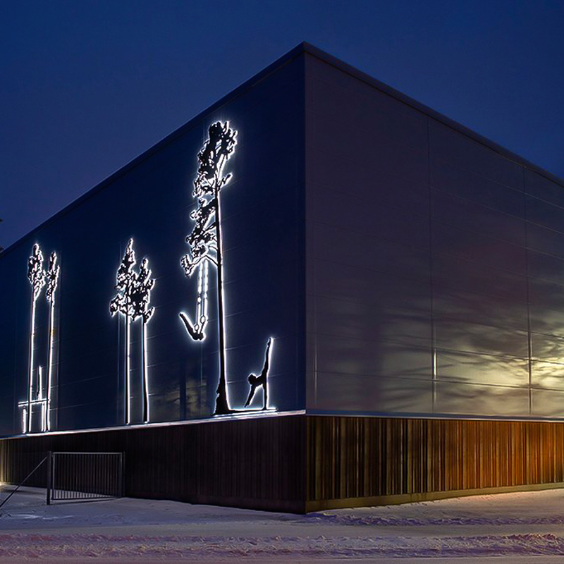 Fasadbelysning av konst med LED-lister