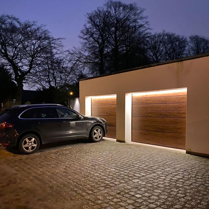 Belysning garageport & garageuppfart