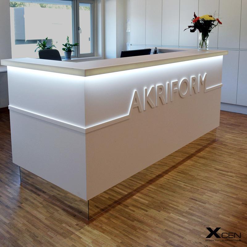 Receptionsdisk design med LED