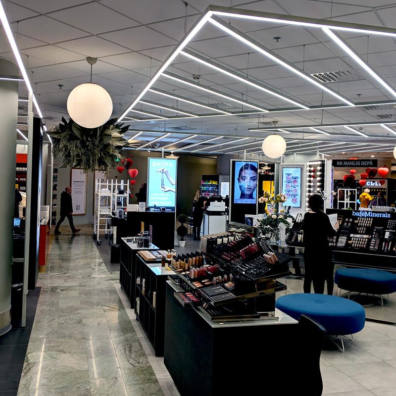 butik linjär belysning
