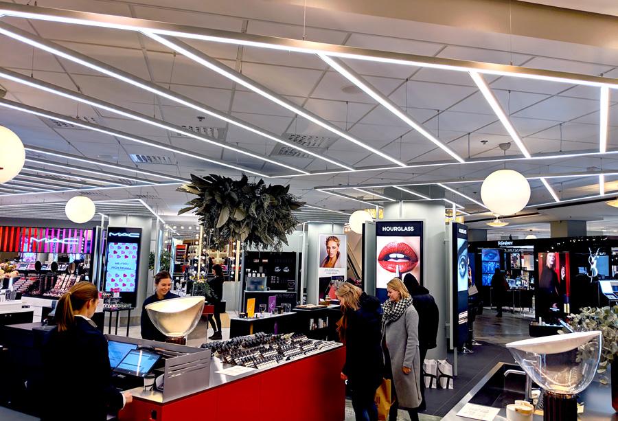 Linjär belysning i butik