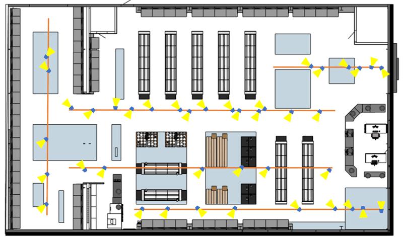 Enkel belysningsplan av butik
