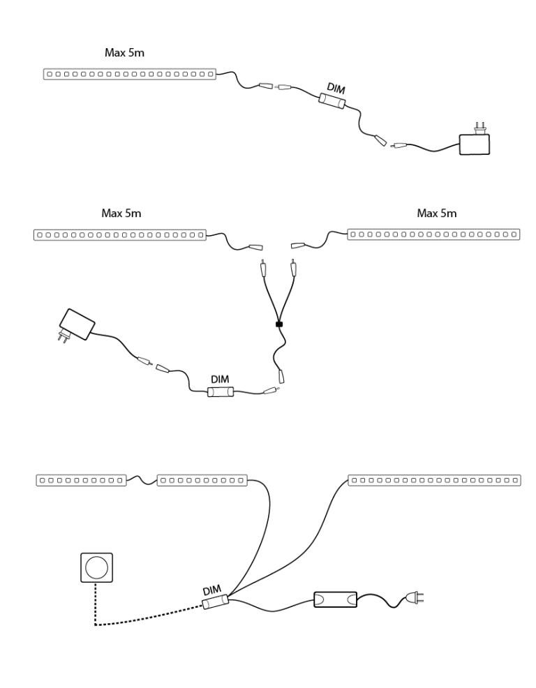 Exempel inkopplingar LED-strips