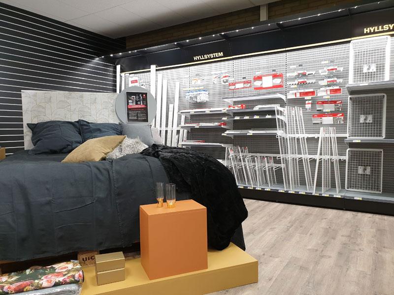 Inbyggt ljus i butiksinredningen