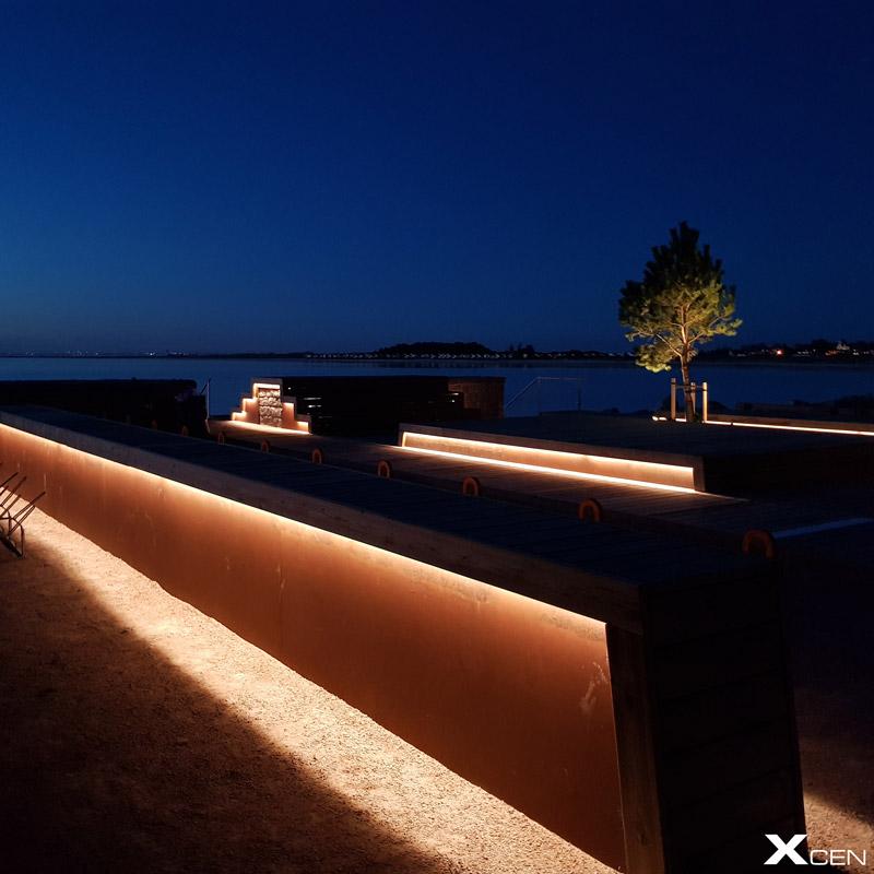 Linjär utomhusbelysning Stens brygga